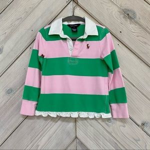 Girls' Ralph Lauren Striped Ruffled Rugby Shirt